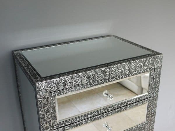 Blackened Silver Embossed Patterned Metal Mirrored Silver Tall Chest